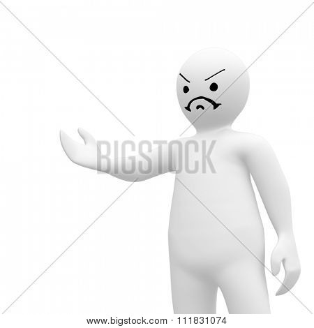 White character orating against white background with vignette