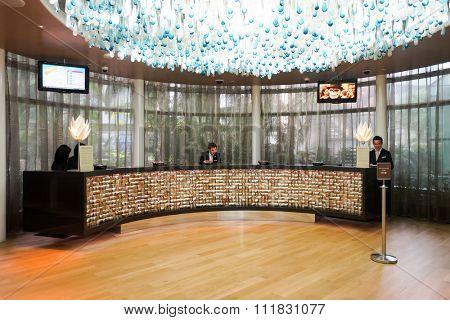SINGAPORE - NOVEMBER 08, 2015: inside the Marina Bay Sands Hotel. Marina Bay Sands is an integrated resort fronting Marina Bay in Singapore