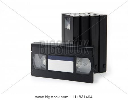VHS Video cassette tapes, isolated on white. blank label.