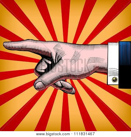 Vintage pop art drawing of pointing hand. Vector illustration