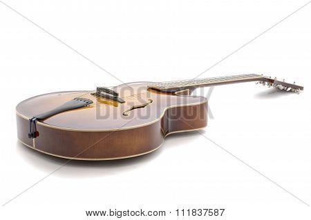 Handmade  Jazz Guitar On A White Background