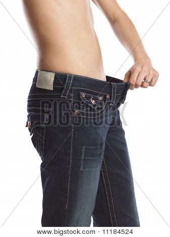 Woman Who Lost Weight And Pulling Her Pants
