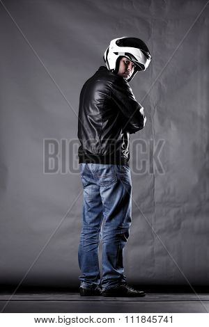 Motorist With A Helmet, Leather Jacket And Jeans