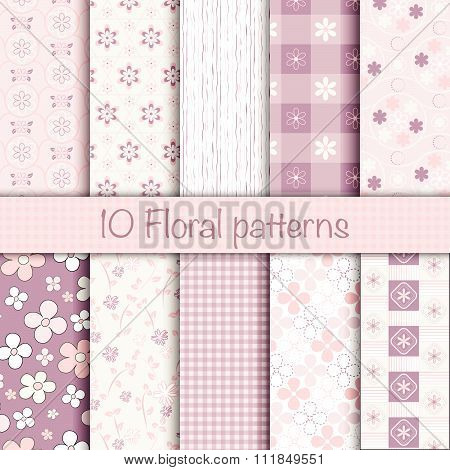 Cute Floral Seamless Patterns Collection