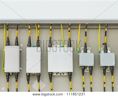 Main circuit box breaker in factory and safety. poster