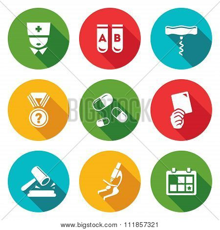 Doping test Icons Set. Vector Illustration.