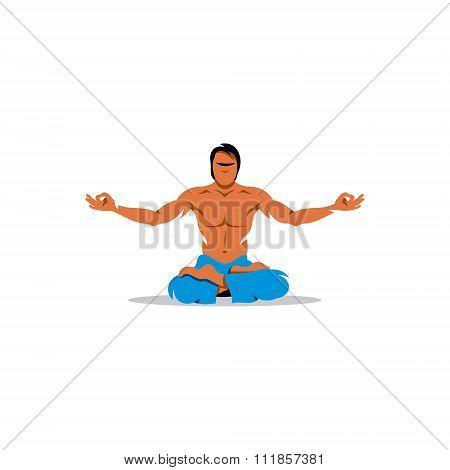 Yoga man. Vector Illustration.