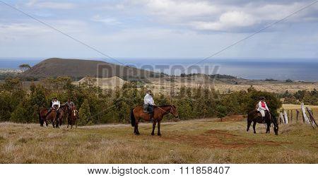 Hanga Roa, Ester Island, Chile - November 10, 2015: Rano Raku -t