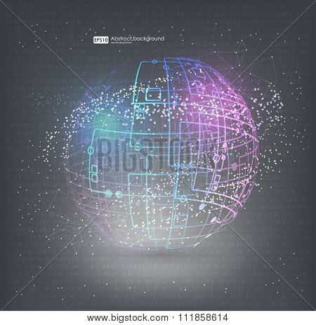 HUD elements for motion design. Connection structure molecules circle. Point and curve constructed the sphere wireframe, technological sense. Abstract background with connecting dots and lines.