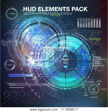 HUD elements for motion design. HUD background outer space. infographic elements. futuristic user interface. Vector science Polygonal background. Futuristic HUD background. Vector science background.