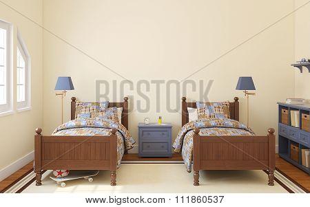 Bedroom For Two Children. 3d rendering.