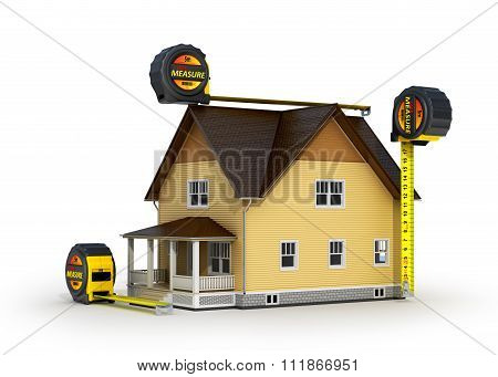 Concept Of Measurement. 3D Illustration Of Tape Measure And House Model, Over White Background