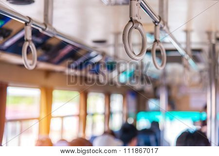 Handles On Ceiling For Standing Passenger Inside A Bus
