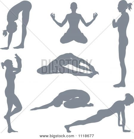 Yoga Posture Silhouettes