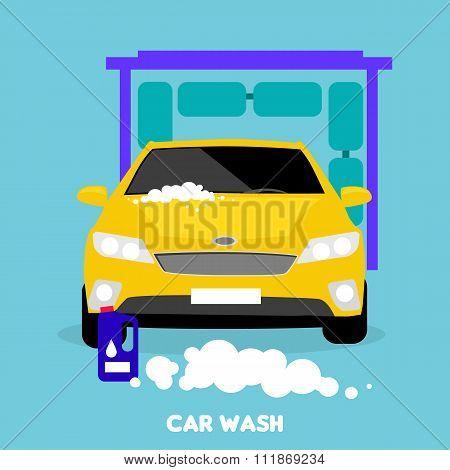 Car Wash Flat Concept Icon