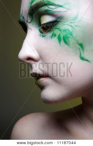 close-up portrait of beautiful elven girl with bodyart poster