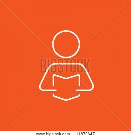 Man reading a book line icon for web, mobile and infographics. Vector white icon isolated on red background.
