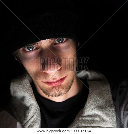 Young Man Wearing Black Beanie Hat
