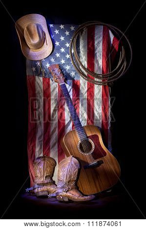 Cowboy Gear with America Flag Background