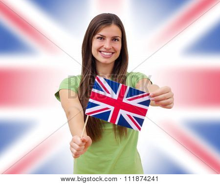 Student Female With British Flag