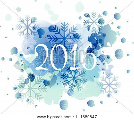 Hand Sketched 2016 New Year Watercolor Logotype, Badge And Icon Typography