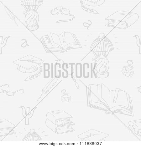 Books Library Seamless Pattern Or Background.