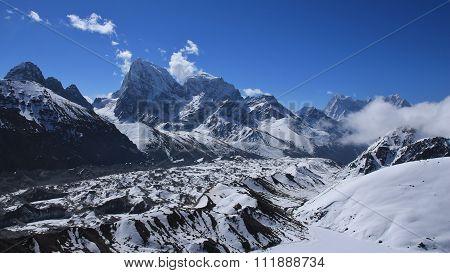 View From Gokyo Ri, Ngozumba Glacier And High Mountains