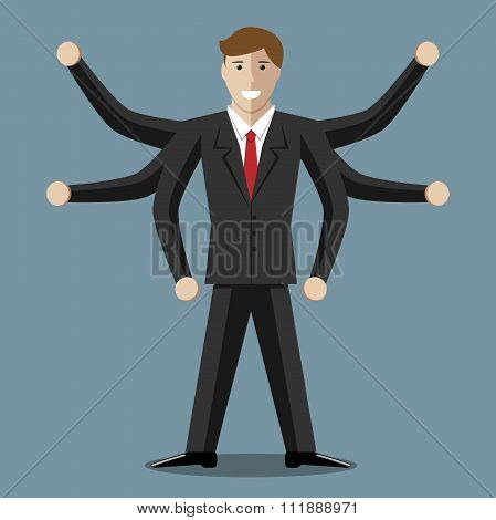 Many-armed Smiling Businessman