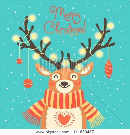 Christmas card Cute cartoon deer with garlands on the horns and scarf.