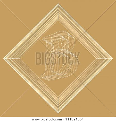 Vector illustration of letter B. Fonts of Mesh polygonal. The structural grid of polygons. Abstract