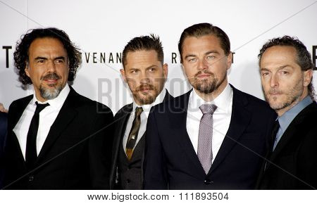 Emmanuel Lubezki, Alejandro Gonzalez Inarritu, Leonardo DiCaprio and Tom Hardy at the Los Angeles premiere of 'The Revenant' held at the TCL Chinese Theatre in Hollywood, USA on December 16, 2015.