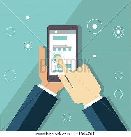 Smartphone apps infographics with hand holding a phone