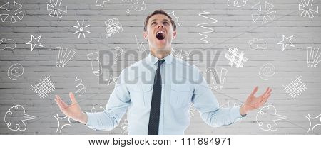 Shouting businessman against grey room