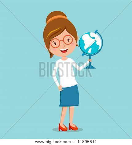 School geography lessons woman teacher illustration