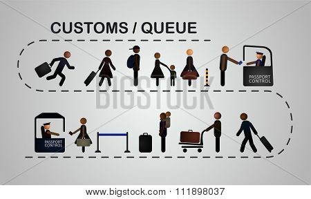 The queue of people at the passport control