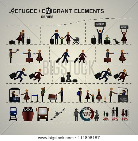 Set of elements for infographics about immigration / refugees.