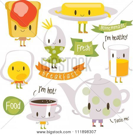 vector cartoon breakfast food with inscriptions. bread, jam, butter, coffee, fried and boiled egg, pot. banners, ribbons and logos around.
