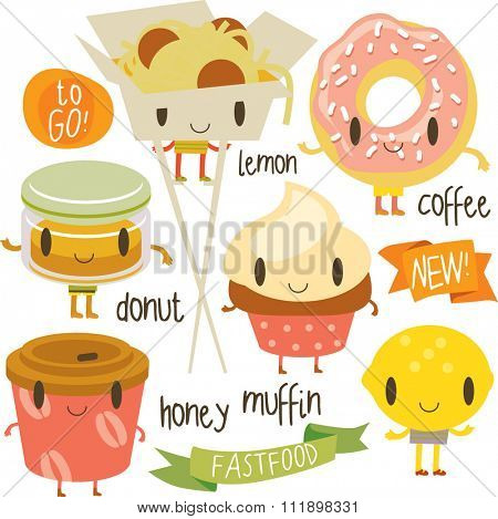 happy vector cute cartoon street food set: muffin, donut, chinese noodle, coffee to go, lemon, honey. Stickers, logos, labels, badges or banners.