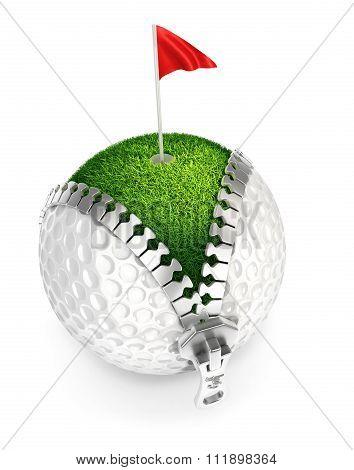3d unzip golf ball concept