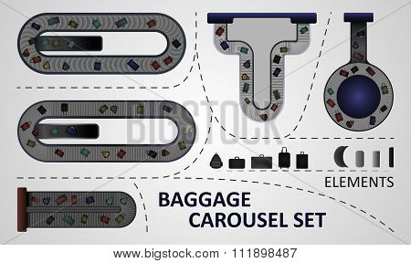Five different types of baggage carousel constructions.