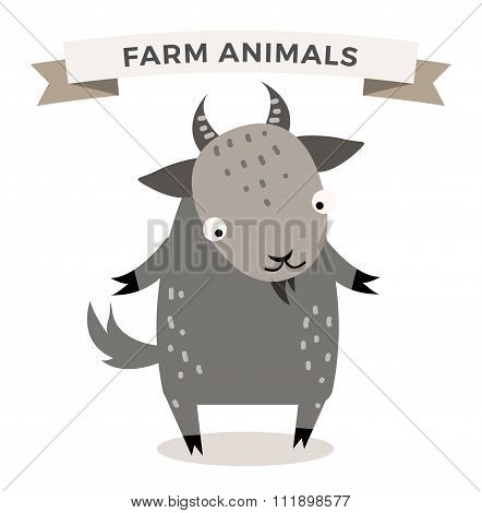 Cute cartoon goat vector illustration