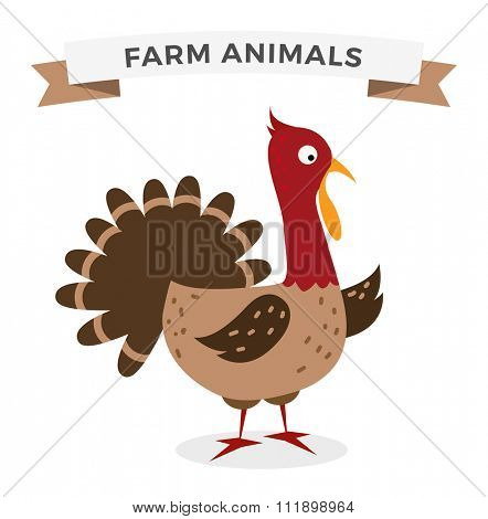 Cute cartoon turkey vector illustration. Cartoon turkey isolated on background. Turkey, bird, farm bird animal. Vector turkey farm animal. Cute turkey vector illustration. Turkey vector isolated