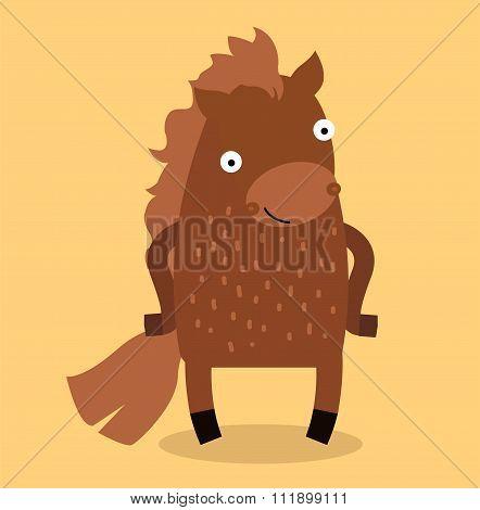 Cute cartoon horse vector illustration