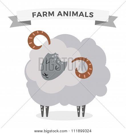 Cute cartoon cow vector illustration