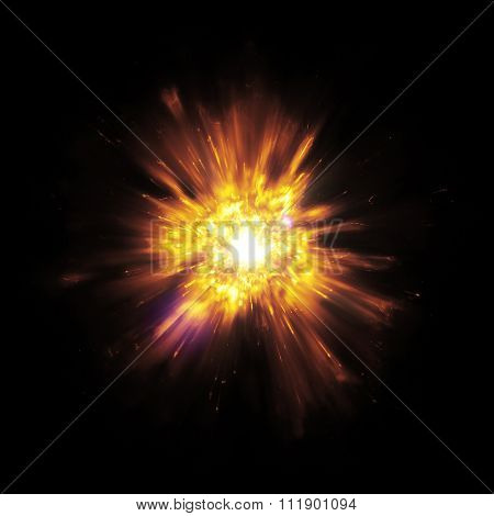 A great detailed explosion with flying sparks