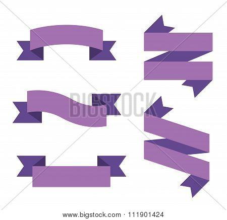 Flat vector ribbon labels set