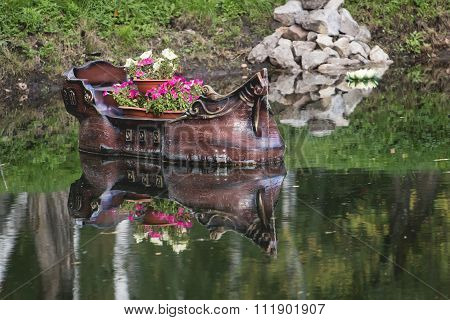 Boat on lake in summer