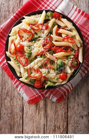 Primavera Pasta With Vegetables On The Table. Vertical Top View