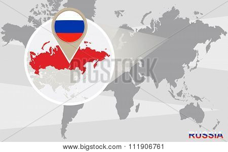 World Map With Magnified Russia