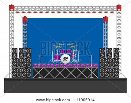 Big Concert Stage with Speakers and Drums